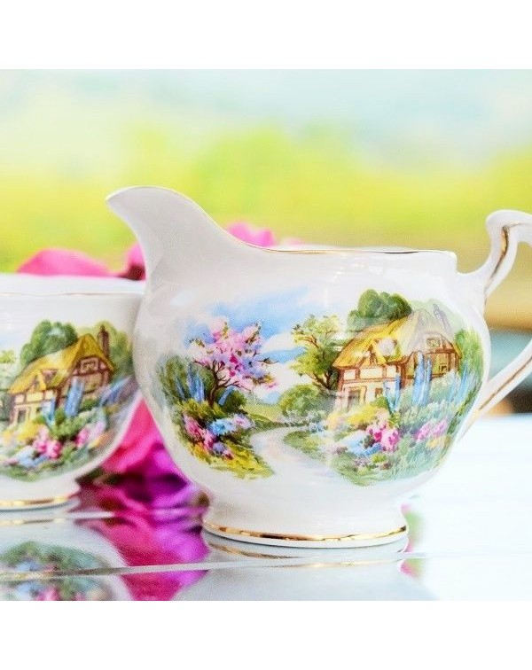 ROYAL VALE COTTAGE GARDEN MILK JUG & SUGAR BOW...