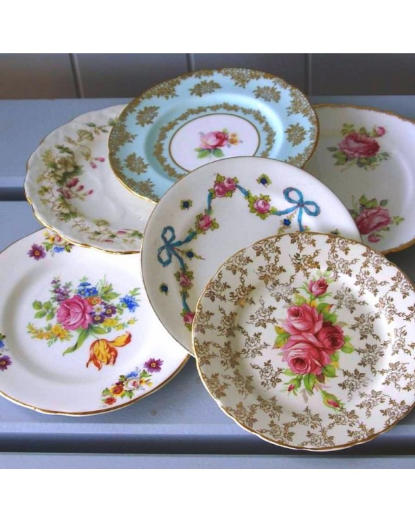 (OUT OF STOCK) SET OF 25 VINTAGE TEA PLATES