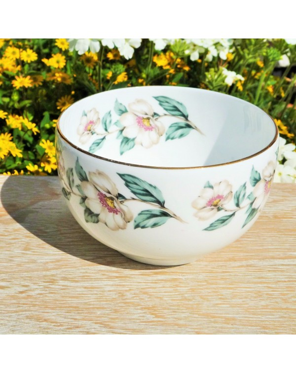 STAFFORDSHIRE FLORAL SUGAR BOWL