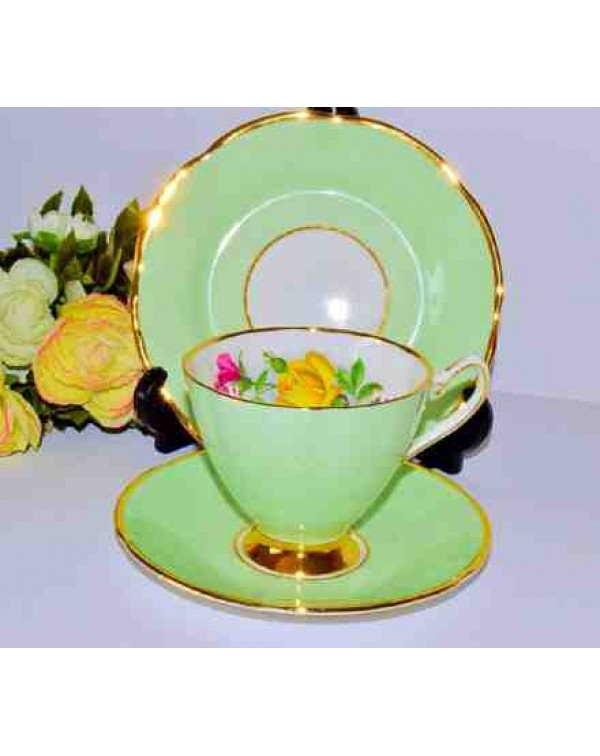 (OUT OF STOCK) STAFFORDSHIRE GREEN FLORAL TEA TRIO
