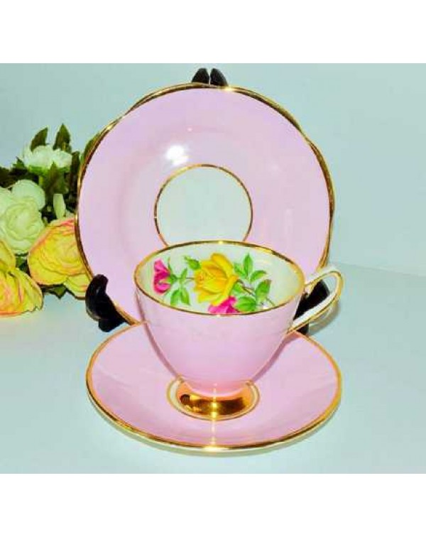 (OUT OF STOCK) STAFFORDSHIRE PINK FLORAL TEA TRIO