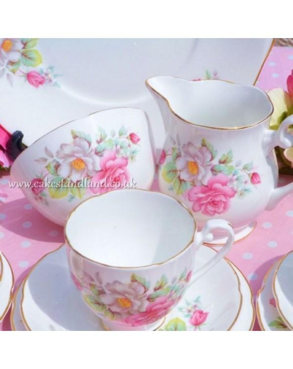 (OUT OF STOCK) ROYAL GRAFTON PINK FLORAL TEA SET