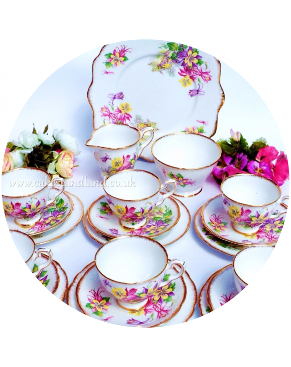 (OUT OF STOCK) ROYAL STAFFORD AQUILEGIA TEA SET