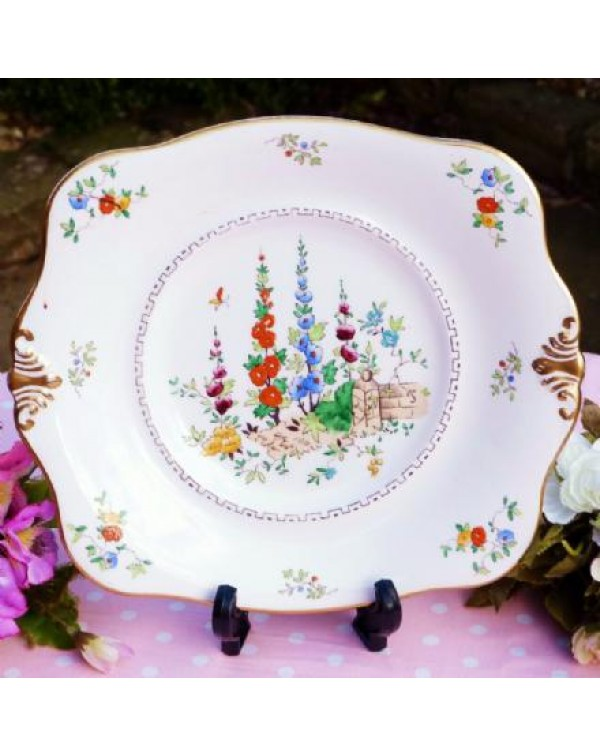 (OUT OF STOCK) TUSCAN HOLLYHOCKS CAKE PLATE