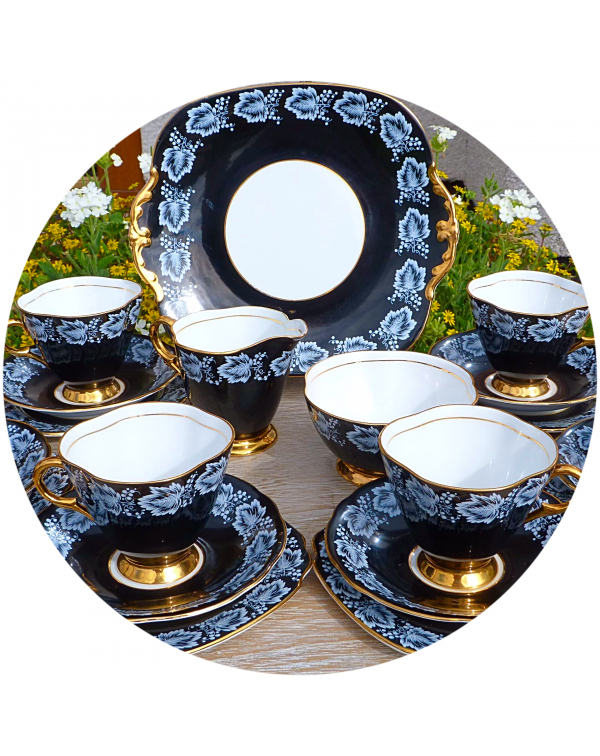 (OUT OF STOCK) WINDSOR BLACK & WHITE TEA SET