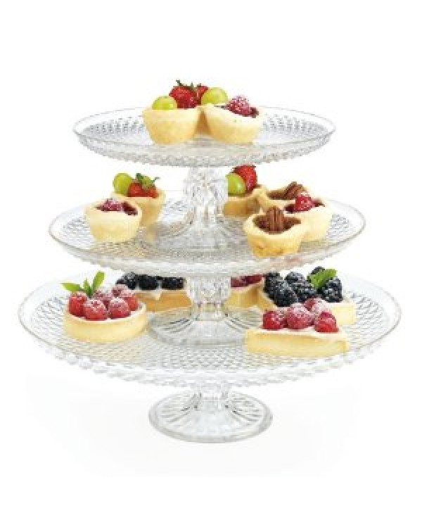 (OUT OF STOCK) THREE GLASS STACKING CAKE STAND